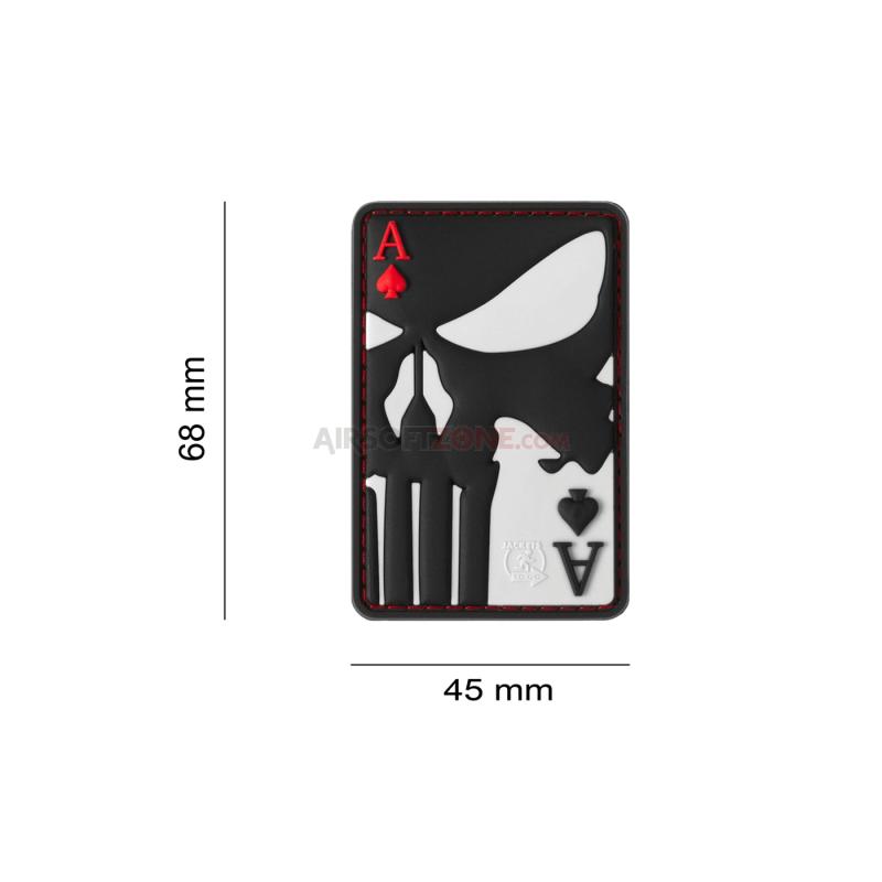 PARCHE PVC CARTA AS DE PUNISHER NEGRO/GRIS