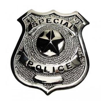 PLACA METÁLICA SPECIAL POLICE PLATA