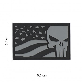 PARCHE PVC PUNISHER USA FLAG GRIS