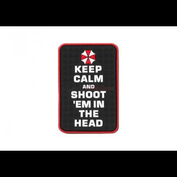 PARCHE PVC KEEP CALM AND SHOOT NEGRO