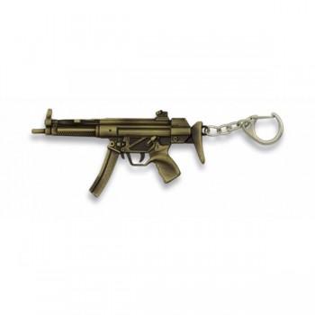 LLAVERO FUSIL MP5 ZAMAK DORADO