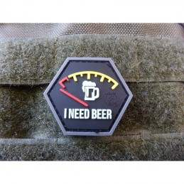 PARCHE PVC I NEED BEER/GLOW IN THE DARK NEGRO