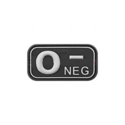 PARCHE PVC GRUPO SANGUINEO O- NEGRO/BLANCO