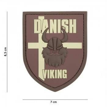 PARCHE PVC BANDERA ESCUDO DANISK VIKING MARRON