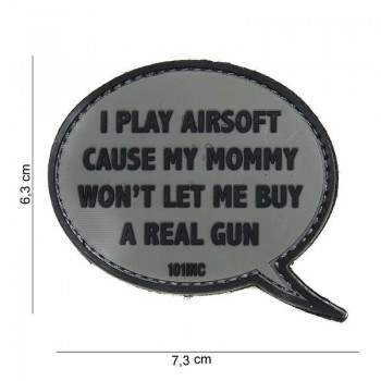 PARCHE PVC I PLAY AIRSOFT CAUSE MY MOMMY GRIS