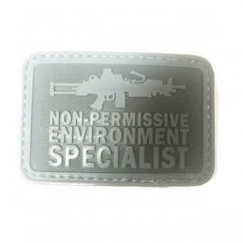 PARCHE PVC FUSIL M249 NEGRO