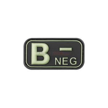 PARCHE PVC GRUPO SANGUINEO B- NEGRO/BLANCO