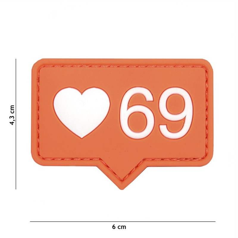 PARCHE PVC LOVE 69 NARANJA