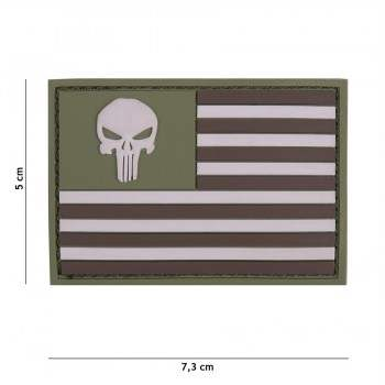 PARCHE PVC PUNISHER BANDERA AMERICANA VERDE/MARRON
