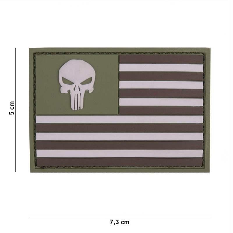 PARCHE PVC PUNISHER BANDERA AMERICANA VERDE/MARRON